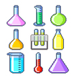 Pixel flasks and test tubes icons set vector image vector image