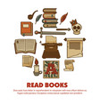 read books agitative poster with ancient written vector image vector image