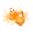 red splatter handprint vector image vector image