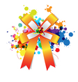 ribbon bow on ink splash vector image