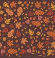 seamless pattern with autumn leaves and flowers vector image vector image