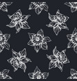 seamless pattern with hand drawn chalk daffodil vector image vector image