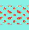 seamless pattern with watermelons and slices vector image