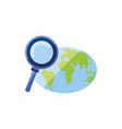 search magnifying glass with planet earth vector image vector image