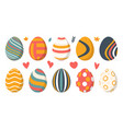 set 10 color easter eggs with pattern design vector image vector image