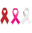 set gray red and pinck ribbon vector image vector image