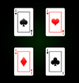 Set of playing cards - four aces vector image vector image