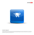 shopping cart and delete sign - 3d blue button vector image