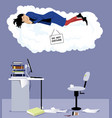 sleeping at workplace vector image vector image