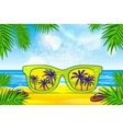 summer blurred beach with sunglasses vector image vector image