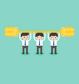 team of cute businessman weightlifting golds vector image vector image