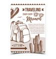 traveling backpack on desert sand banner vector image vector image