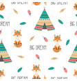 tribal seamless pattern with fox vector image vector image