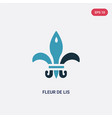 two color fleur de lis icon from shapes and vector image