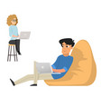 young man and woman freelancers working with lapto vector image vector image
