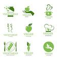 Vegan and vegetarian icons vector image