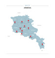 armenia map with red pin vector image vector image