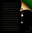 black-green paper with gold corner and crystal vector image