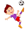Boy cartoon playing football vector image vector image