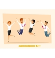 Business people jumping and celebrating victory vector image