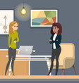 business women working in co-wotking as freelancer vector image vector image