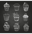 Chalk drawing Set of cakes vector image vector image