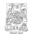 coloring halloween cute cowgirl in stable vector image vector image