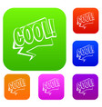 cool comic text speech bubble set color vector image vector image
