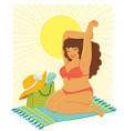 curvy woman at beach vector image vector image
