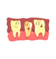 cute cartoon teeth characters with funny faces in vector image vector image