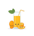 cute kawaii smiling cartoon mango juice vector image vector image