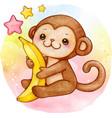 cute watercolor baby monkey with banana sitting