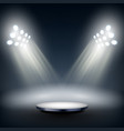 dark round stage illuminated by big spotlights vector image vector image