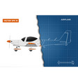 engineering blueprint plane side view airplane vector image vector image