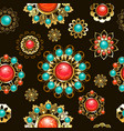 ethnic brooches seamless pattern vector image vector image