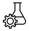 experiment research line icon lab flask and gear vector image