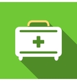 First Aid Toolkit Flat Long Shadow Square Icon vector image vector image