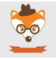 Fox in bowler hat and monocle vintage style vector image
