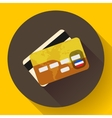Golden VIP Credit Card icon with long shadow Flat vector image vector image