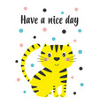 greeting card with cute cat isolated on white vector image vector image