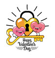 hearts couple with padlock and key to valentines vector image vector image