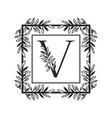 letter v alphabet with vintage style frame