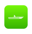 motor speed boat icon digital green vector image vector image