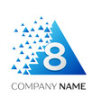number eight logo in the colorful triangle vector image vector image
