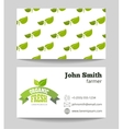 Organic fresh food farmer business card vector image vector image