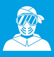 paintball player wearing protective mask icon vector image