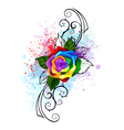 Patterned Rainbow Rose vector image vector image