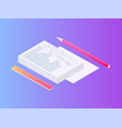 pile of papers documents with pencil and ruler set vector image vector image