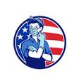 rosie riveter wearing mask usa flag mascot vector image vector image