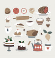 set of cute christmas food and drink icons vector image